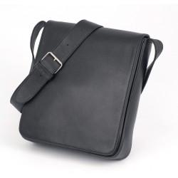 besace cuir noir - Vertical