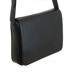 Grande besace cuir noir - horizontale