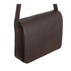 Grande besace cuir marron - horizontale