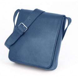 Grande besace cuir bleu - Verticale Modèle L