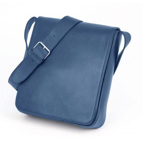Grande besace cuir bleu - Verticale