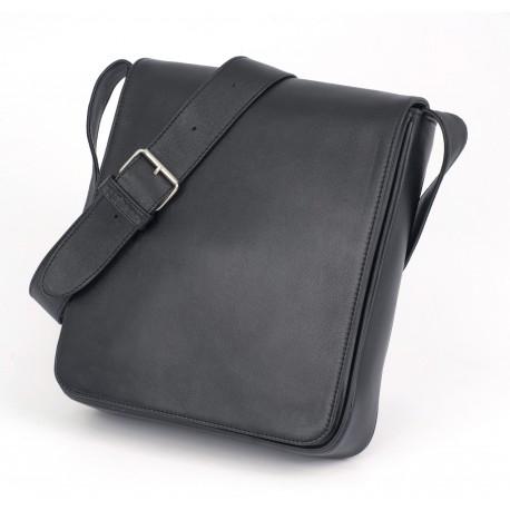 Grande Besace cuir noir - Verticale